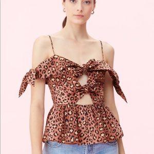 NWT Rebecca Taylor Off shoulder Leopard bow top